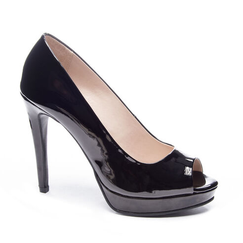 aa89375e336f Holliston Patent Peep Toe Pump BLACK