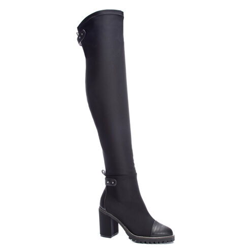 2a7ab22a834 Jerry Lycra Over the Knee Lug Sole Boot BLACK