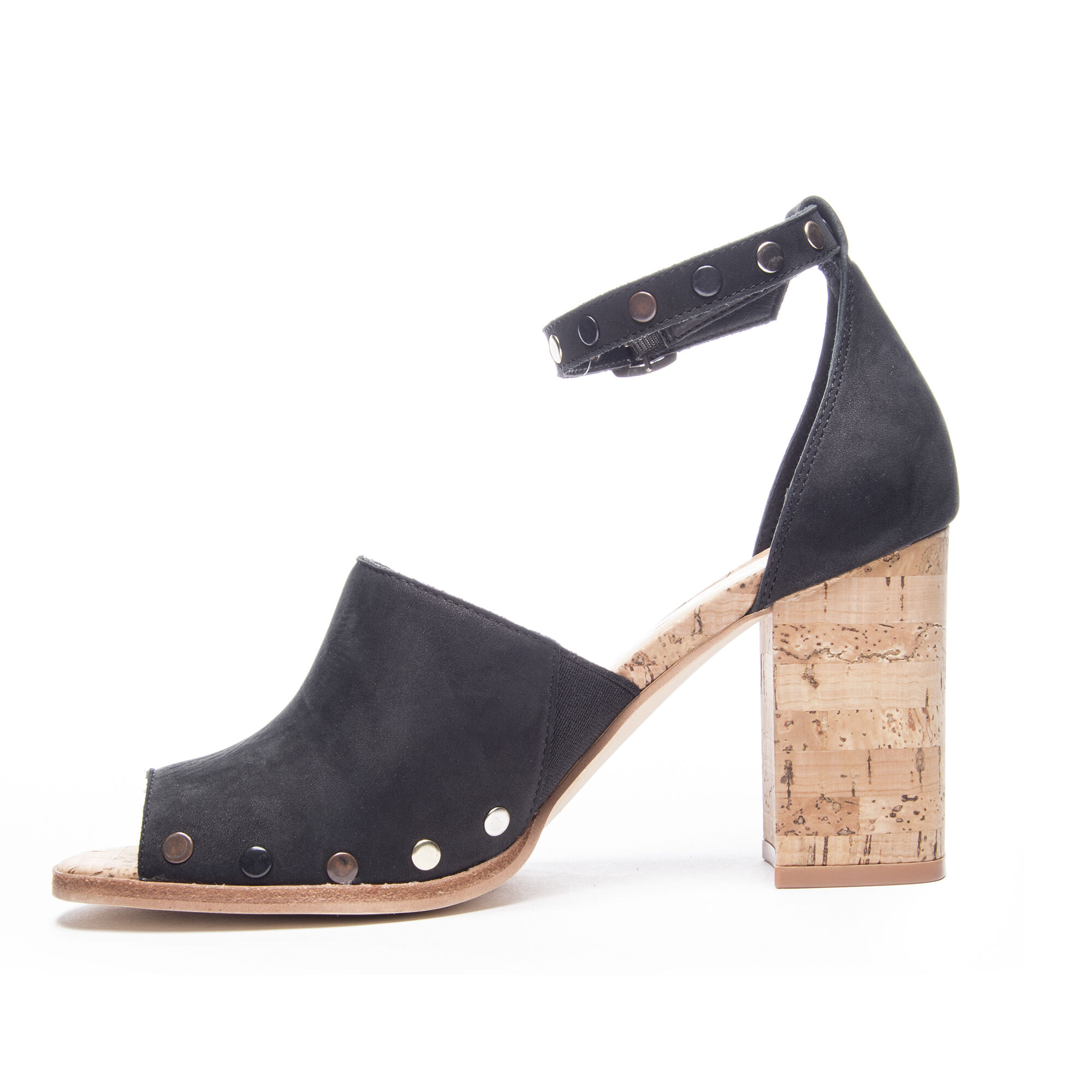 f12ba6a2fc1 Savana Cork Heel Leather Ankle Sandal