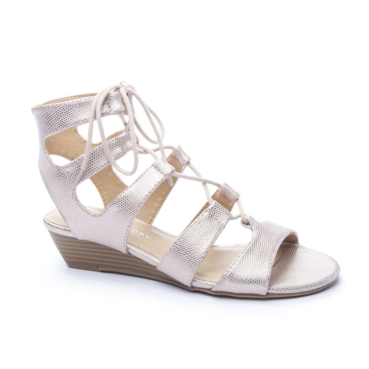 Chinese Laundry Most Gladiator Wedges in Rose Gold