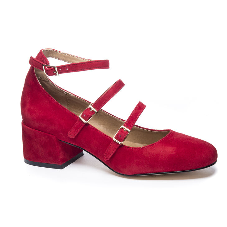 Chinese Laundry Moto Block Heels in Red