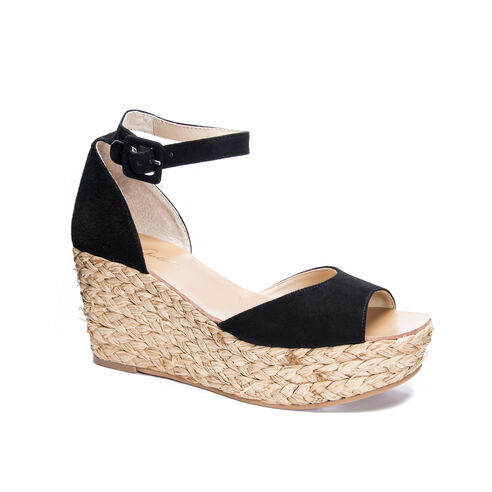 be8ea5c3c279 Mindie Kid Suede Platform Wedge Sandal BLACK