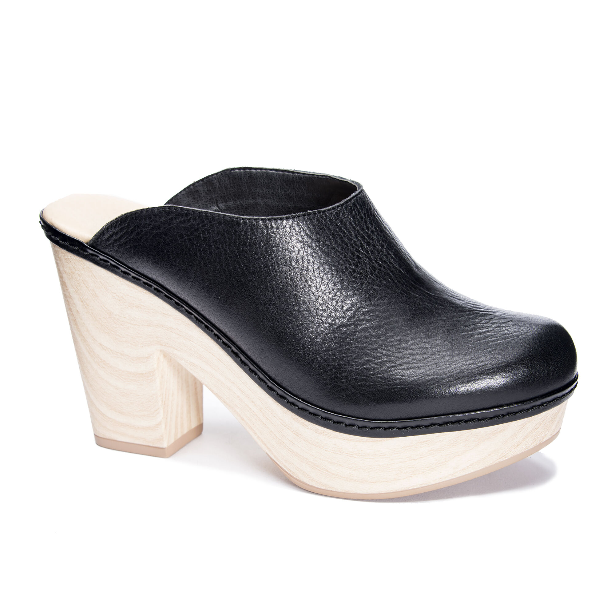 Black Leather Mule Heels   Chinese Laundry